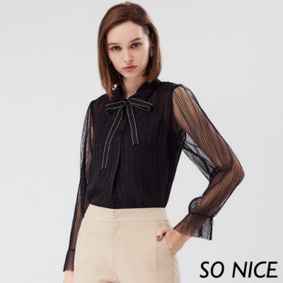 SO NICE優雅綁結條紋雪紡上衣