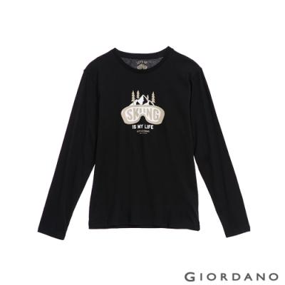 GIORDANO 男裝GO SKIING印花長袖T恤-12 標誌黑