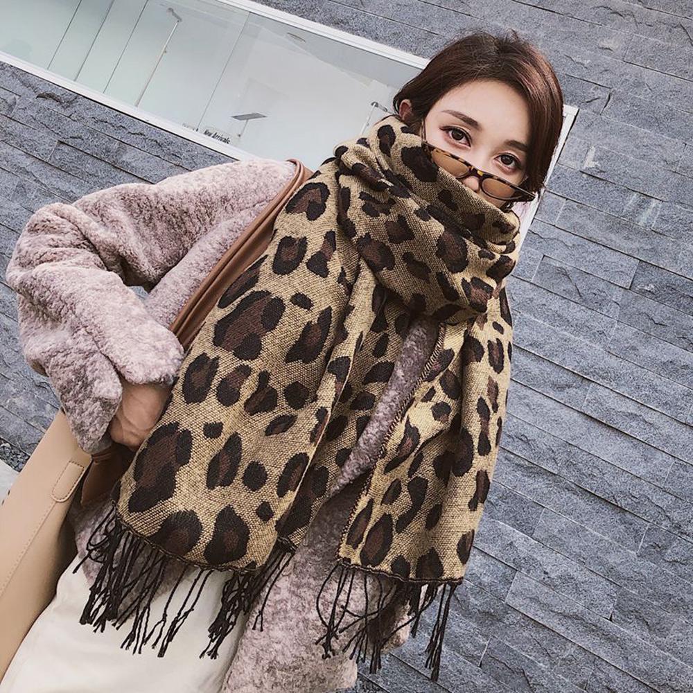 梨花HANA  韓國豹紋浪潮印象長圍巾
