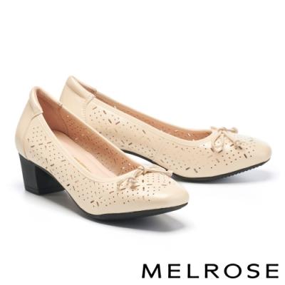 高跟鞋 MELROSE 典雅蝴蝶結造型沖孔鏤空全真皮方頭高跟鞋-米