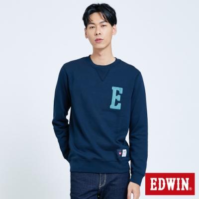 EDWIN 復古毛線繡內刷毛 厚長袖T恤-男-丈青