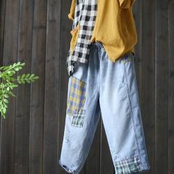 做舊貼布全棉牛仔褲破洞百搭七分褲-設計所在