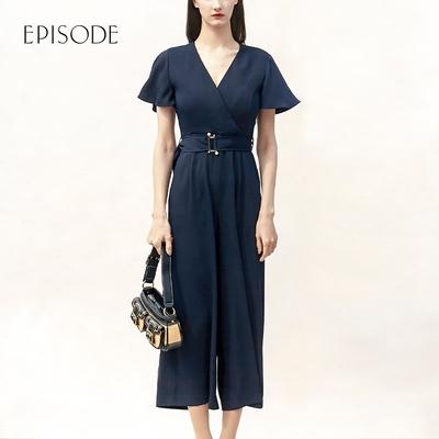 EPISODE - 時尚顯瘦修身高腰短袖雪紡連身裤(深藍)