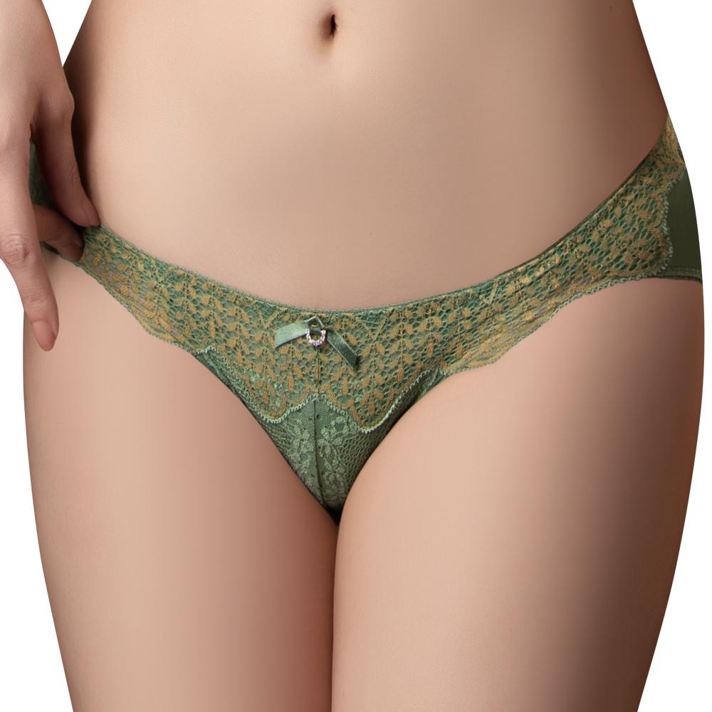思薇爾 波光曼舞系列M-XL蕾絲低腰三角內褲(雨林綠)
