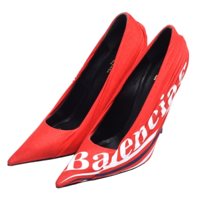 BALENCIAGA 經典品牌LOGO扭結皺褶高跟鞋(紅)