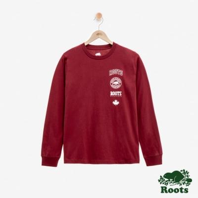ROOTS女裝 印章長袖T恤 -紅