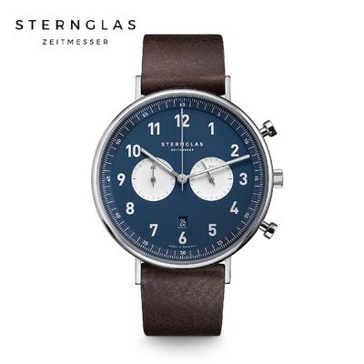 STERNGLAS 德國希丹格斯 S01-CH06-VI11 雙眼計時暮夜藍盤文青石英錶(深棕錶帶) 43mm 男/女錶