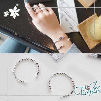 iSFairytale伊飾童話 與夢纏綿 古銀珍珠彈性開口手環2件組