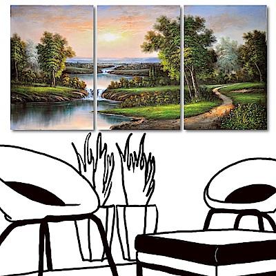 橙品油畫布 三聯式直幅 油畫無框畫-河邊的山間小徑40x60cm
