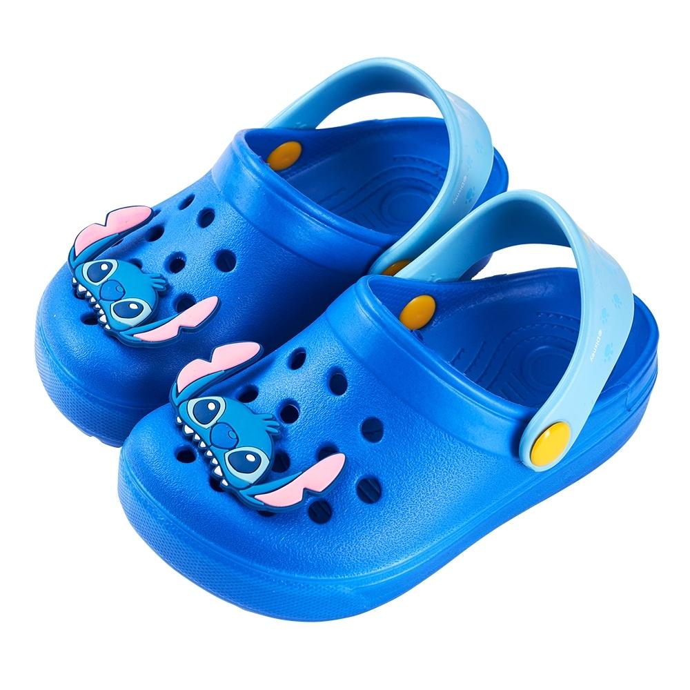 迪士尼童鞋 史迪奇 半臉飾釦洞洞鞋-藍(柏睿鞋業)
