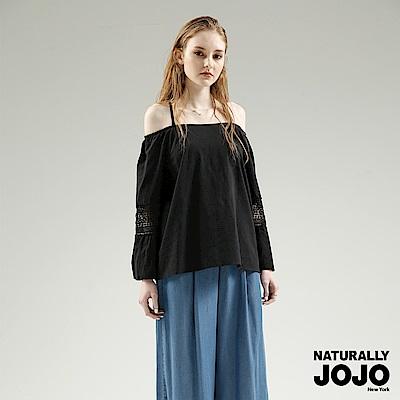【NATURALLY JOJO】拋袖蕾絲肩帶上衣 (黑)