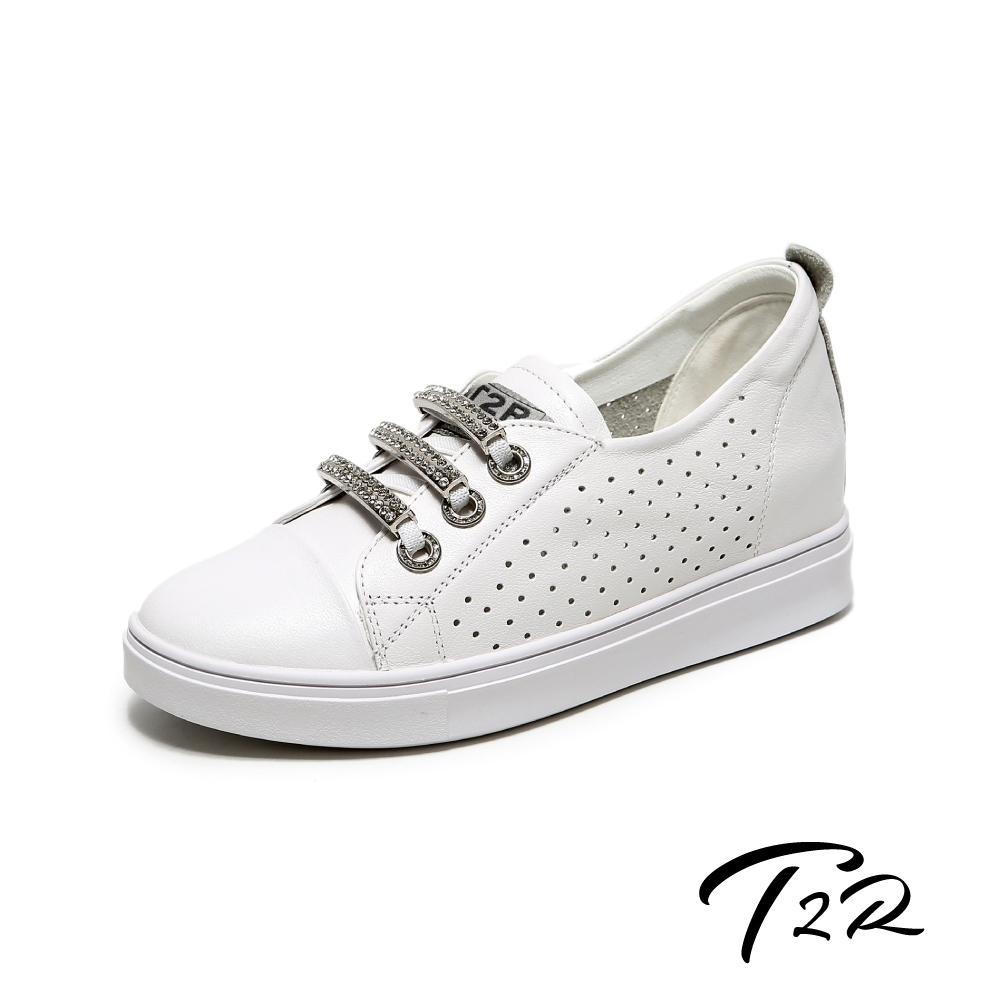 T2R-正韓空運-透氣洞洞水鑽真皮帆布鞋小白鞋隱形增高鞋-增高5公分-白