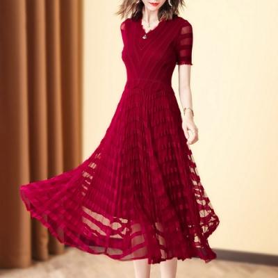 法式條紋純色華麗大裙襬褶皺洋裝-F(共四色)-糖潮