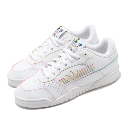 adidas 休閒鞋 Carrera Low Pride 男鞋 愛迪達 三葉草 彩虹驕傲 低筒 皮革 白 彩 FY9019