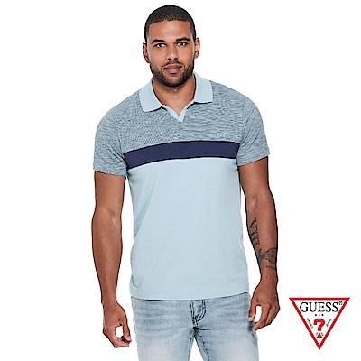 GUESS-男裝-撞色拼接Polo衫-藍 原價1690