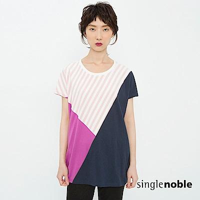 獨身貴族 交錯光影豔彩幾何色塊設計上衣(2色)
