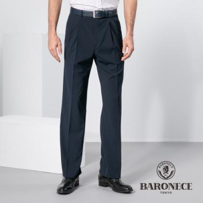 BARONECE 百諾禮士休閒商務  男裝 暗紋舒適雙褶西裝褲-丈青色(1198847-38)