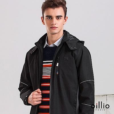歐洲貴族 oillio 防風防細雨衝鋒外套 頸部防風 夜晚螢光條 黑色