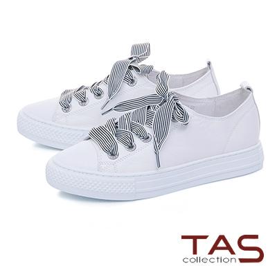 TAS寬版條紋綁帶素面休閒鞋-活潑白