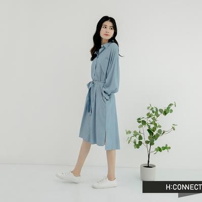 H:CONNECT 韓國品牌 女裝- 知性牛仔綁帶襯衫洋裝-藍