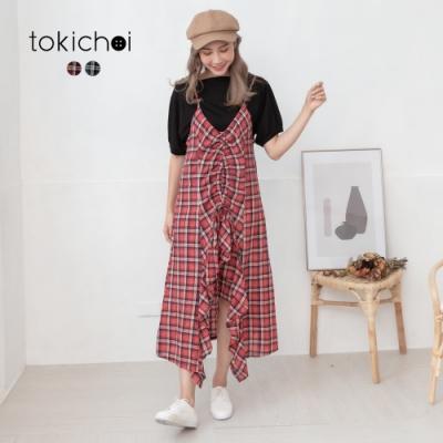 東京著衣 經典撞色格紋抓皺抽繩綁帶不規則魚尾洋裝-S.M.L(共二色)