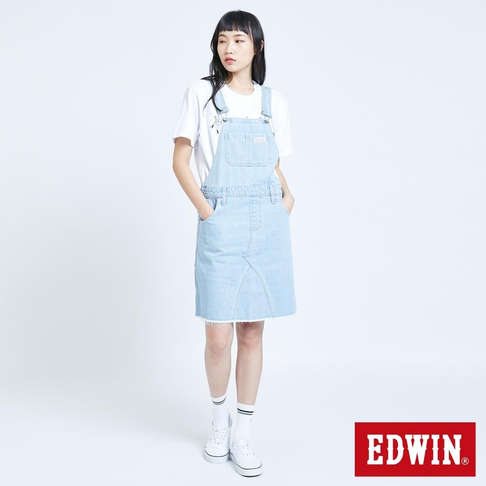 EDWIN MISS 刷色連身吊帶牛仔短裙-女-重漂藍