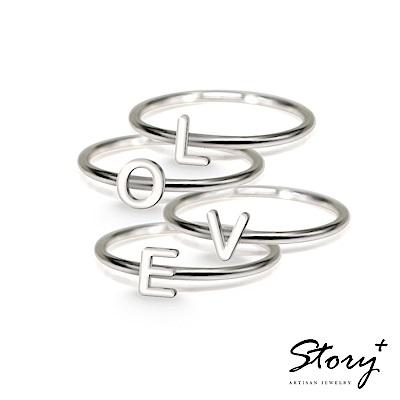STORY故事銀飾-字母純銀戒指