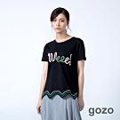 gozo 立體字母編繩波浪棉線繡上衣(二色)