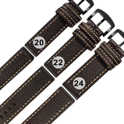 Watchband /各品牌通用 經典復刻 柔軟 加厚款 真皮錶帶-深咖啡色