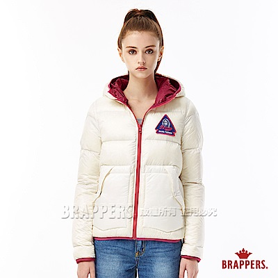 BRAPPERS 女款 雙面穿配色羽絨外套-米白