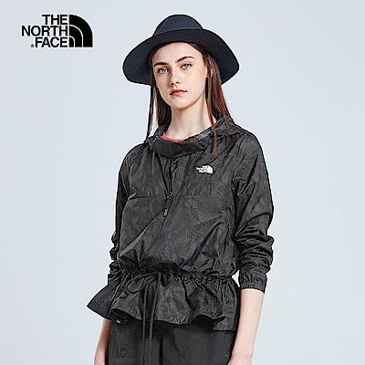 The North Face北面女款灰色印花防潑水可收納式風衣外套|3V4Z9HR