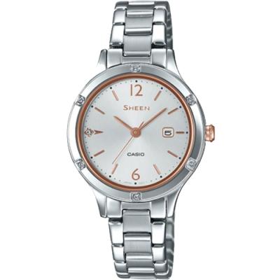 SHEEN 溫柔婉約藍寶石玻璃設計不鏽鋼腕錶-銀(SHE-4533D-7A)/36.7mm