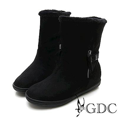 GDC-秋冬水鑽絨毛2WAY反摺小短靴-黑色