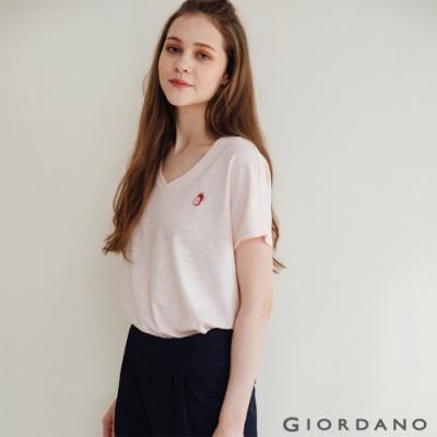 GIORDANO  女裝V領簡約T恤 - 76 淺粉紅