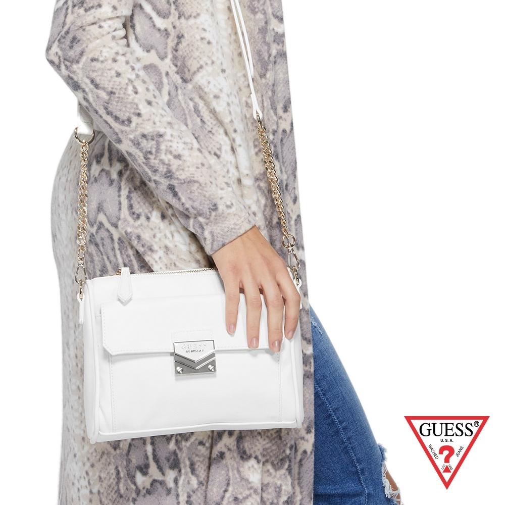 GUESS-女包-菱形壓紋純色鍊條單肩包-白
