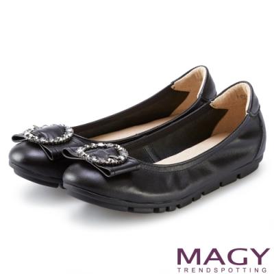 MAGY 造型鑽飾鬆緊帶牛皮娃娃鞋 黑色