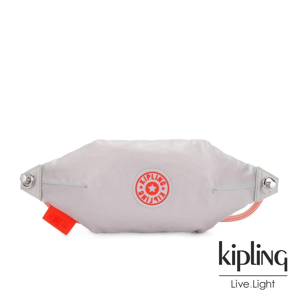 Kipling 夏日活力淺灰橘拉鍊背提小包-JIHUN