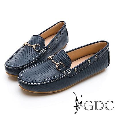GDC-真皮簡約百搭舒適金扣圓頭休閒鞋-藍色