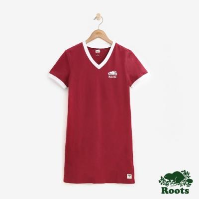 ROOTS 女裝- V領厚棉短袖洋裝-紅