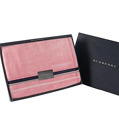 時時樂 BURBERRY 刺繡LOGO線條飾邊純棉浴巾(附贈緞帶及原廠禮盒)