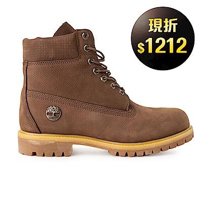 Timberland-男款深咖啡色正絨面皮革靴-A