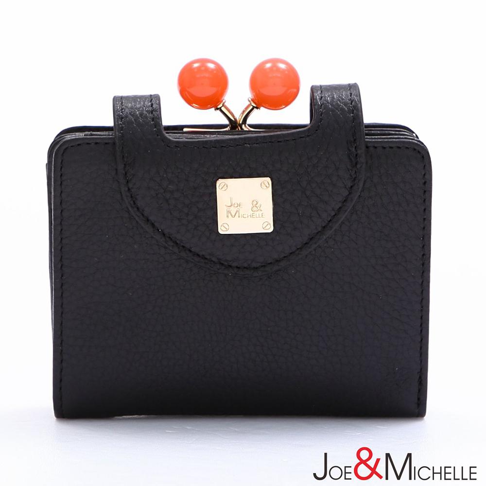 J&M 真皮愛蜜莉框釦短夾 質感黑