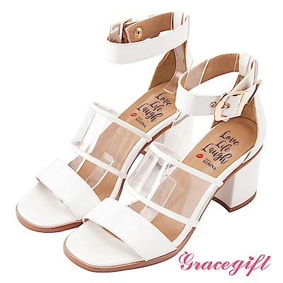 Grace gift X Kerina妞妞-透明寬帶金屬釦繞踝粗跟鞋 白