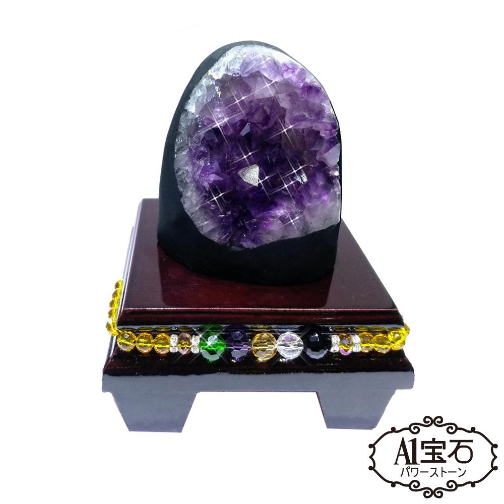 A1寶石  頂級巴西天然紫晶鎮/陣-同烏拉圭水晶洞功效500g(贈五行木座)
