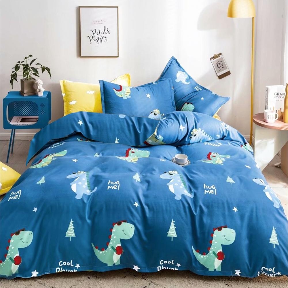 A-ONE 雪紡棉 雙人加大床包/枕套 三件組-綠恐龍