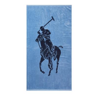 Polo Ralph Lauren 經典大馬圖案大沙灘雙面浴巾-藍色
