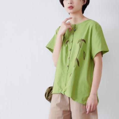 慢 生活 假扣造型葉片刺繡上衣- 綠色