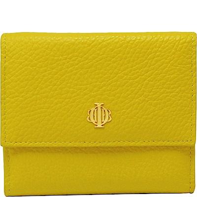 OBBI LAI 黃色女款荔枝紋牛皮短夾皮夾錢包
