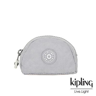 Kipling 知性淺灰撞色圓弧貝殼零錢包-TRIX