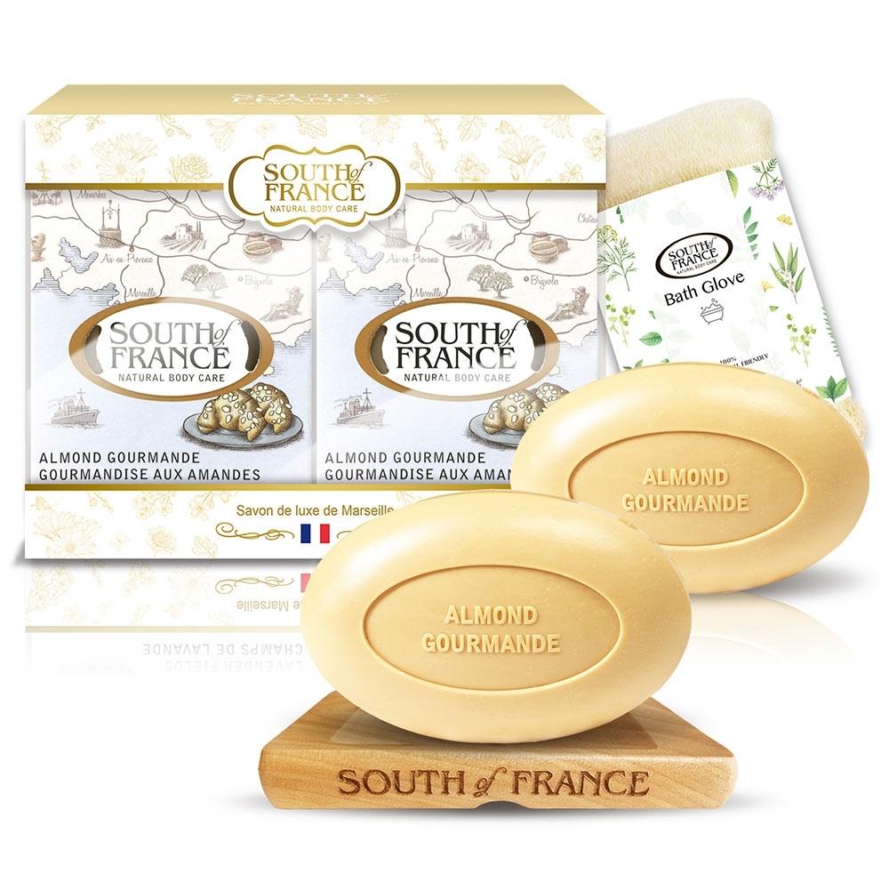 South of France 南法馬賽皂杏仁潤澤滋養組170g x2(贈皂盤+沐浴手套)